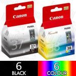 Canon PG-37 + CL-38 (12 Pack) Genuine Inkjet Cartridge Combo
