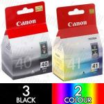 Canon PG-40 + CL-41 (5 Pack) Genuine Inkjet Cartridge Combo