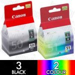 Canon PG-50 + CL-51 High Yield (5 Pack) Genuine Inkjet Cartridge Combo