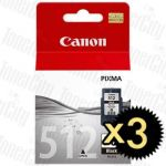 Canon PG-512 Black High Yield 3 Pack Genuine Inkjet Cartridge