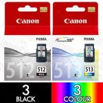 Canon PG-512 + CL-513 High Yield (6 Pack) Genuine Inkjet Cartridge Combo