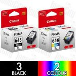 Canon PG-645XL + CL-646XL High Yield (5 Pack) Genuine Inkjet Cartridge Combo