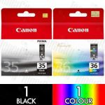 Canon PGI-35BK + CLI-36C (2 Pack) Genuine Inkjet Cartridge Combo