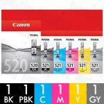 Canon PGI-520 + CLI-521 (6 Pack) Genuine Inkjet Cartridge Combo