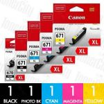 Canon PGI-670XL + CLI-671XL (5 Pack) Genuine Inkjet Cartridge Combo