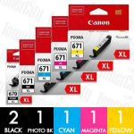 Canon PGI-670XL + CLI-671XL (6 Pack) High Yield Genuine Inkjet Cartridge Combo