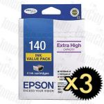 3 x Epson 140 (C13T140692) High Yield Value Pack Genuine Inkjet Cartridge