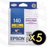 5 x Epson 140 (C13T140692) High Yield Value Pack Genuine Inkjet Cartridge