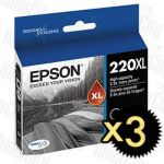 Epson 220XL (C13T294192) Black High Yield 3 Pack Genuine Inkjet Cartridge