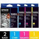 Epson 252XL High Yield 5 Pack Genuine Inkjet Cartridge Combo