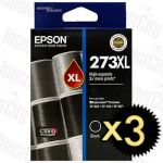 Epson 273XL (C13T274192) Black High Yield 3 Pack Genuine Inkjet Cartridge