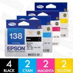 Epson 138 (C13T138192-C13T138492) High Yield 10 Pack Genuine Inkjet Cartridge Combo