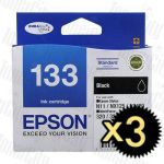 Epson 133 (C13T133192) Black 3 Pack Genuine Inkjet Cartridge