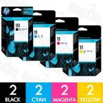 HP 10 + 11 (C4844A + C4836A-C4838A) 8 Pack Genuine Inkjet Cartridge Combo