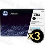 HP 26X (CF226X) Black High Yield 3 Pack Genuine Toner Cartridge