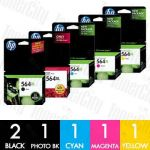 HP 564XL (CN684WA +  CB322WA-CB325WA) High Yield 6 Pack Genuine Inkjet Cartridge Combo