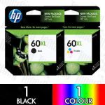 HP 60XL Black (CC641WA) + Colour (CC644WA) High Yield 2 Pack Genuine Inkjet Cartridge Combo
