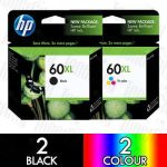 HP 60XL Black (CC641WA) + Colour (CC644WA) High Yield 4 Pack Genuine Inkjet Cartridge Combo