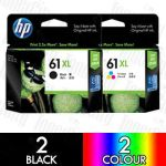 HP 61XL Black (CH563WA) + Colour (CH564WA) High Yield 4 Pack Genuine Inkjet Cartridge Combo