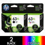 HP 63XL Black (F6U64AA) + Colour (F6U63AA) High Yield 4 Pack Genuine Inkjet Cartridge Combo