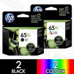 HP 65XL (N9K04AA + N9K03AA) High Yield 4 Pack Genuine Inkjet Cartridge Combo