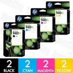 HP 940XL (C4906AA-C4909AA) High Yield 8 Pack Genuine Inkjet Cartridge Combo