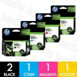 HP 950XL + 951XL (CN045AA-CN048AA) High Yield 5 Pack Genuine Inkjet Cartridge Combo