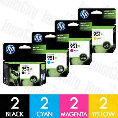 HP 950XL + 951XL (CN045AA-CN048AA) High Yield 8 Pack Genuine Inkjet Cartridge Combo