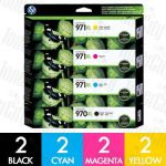 HP 970XL + 971XL (CN625AA-CN628AA) High Yield 8 Pack Genuine Inkjet Cartridge Combo