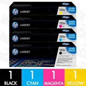 HP 125A (CB540A-CB543A) 4 Pack Genuine Toner Cartridge Combo