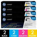 HP 304A (CC530A-CC533A) 8 Pack Genuine Toner Cartridge Combo