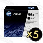 HP 55X (CE255X) Black High Yield 5 Pack Genuine Toner Cartridge