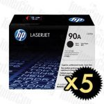HP 90A (CE390A) Black 5 Pack Genuine Toner Cartridge