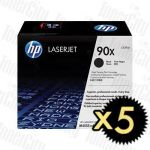HP 90X (CE390X) Black High Yield 5 Pack Genuine Toner Cartridge
