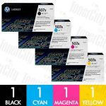 HP 507X + 507A (CE400X + CE401A-CE403A) 4 Pack Genuine Toner Cartridge Combo
