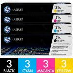 HP 131X + 131A (CF210X + CF211A-CF213A) 12 Pack Genuine Toner Cartridge Combo