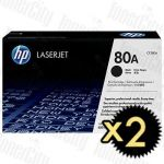HP 80A (CF280A) Black 2 Pack Genuine Toner Cartridge