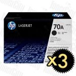 HP 70A (Q7570A) Black 3 Pack Genuine Toner Cartridge