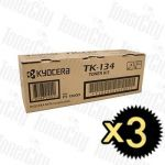Kyocera TK-134 3 Pack Genuine Toner Cartridge