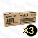 Kyocera TK-144 3 Pack Genuine Toner Cartridge