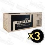 Kyocera TK-594BK Black 3 Pack Genuine Toner Cartridge