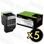 Lexmark 70C8HK0 (CS310/CS410/CS510) Black High Yield 5 Pack Genuine Toner Cartridge