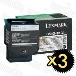 Lexmark C540H1KG Black 3 Pack Genuine Toner Cartridge