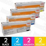 OKI 43865725-43865728 (C5850/C5950/MC560) 8 Pack Genuine Toner Cartridge Combo