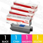 OKI 44973545-44973548 (C301/C321) 4 Pack Genuine Toner Cartridge Combo