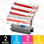 OKI 44973545-44973548 (C301/C321) 8 Pack Genuine Toner Cartridge Combo