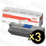 OKI 44973548 (C301/C321) Black 3 Pack Genuine Toner Cartridge