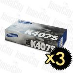 Samsung CLT-K407S Black 3 Pack Genuine Toner Cartridge