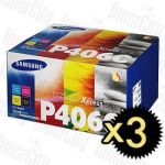 3 x Samsung CLTP406S Value Pack Genuine Toner Cartridge