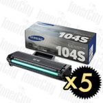 Samsung MLT-D104S Black 5 Pack Genuine Toner Cartridge